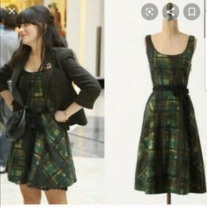 Anthropologie Maeve Painted Plaid Green Dress